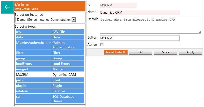 data group types instance
