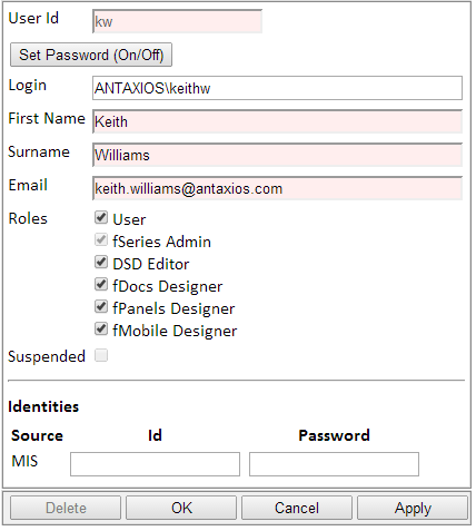 users entry